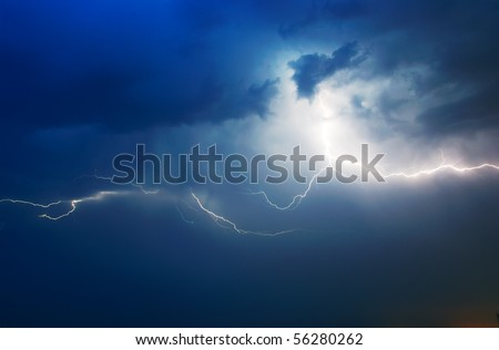 Lightning in dark sky. Composition of nature. - stock photo