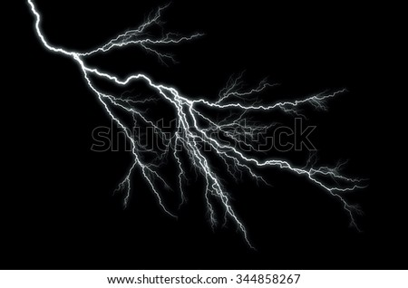 Lightning: lightning bolt, isolated against black ground  - stock photo