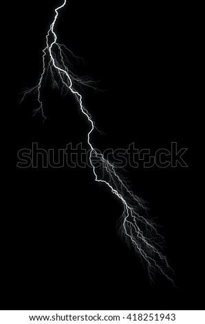 Lightning: lightning bolt, isolated against black ground  - stock photo