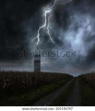 Lightning storm - stock photo