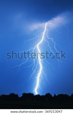 Lightning storm at night - stock photo