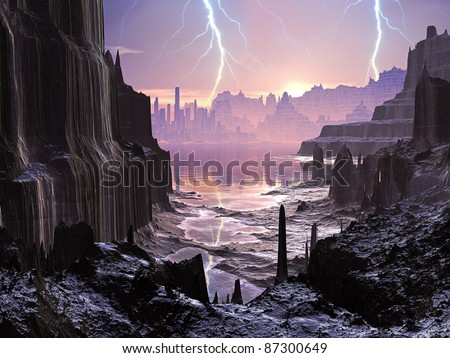 Lightning Storm over Alien Glowing City - stock photo