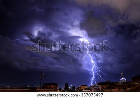 Lightning storm strikes the city of Phnom Penh, Cambodia - stock photo