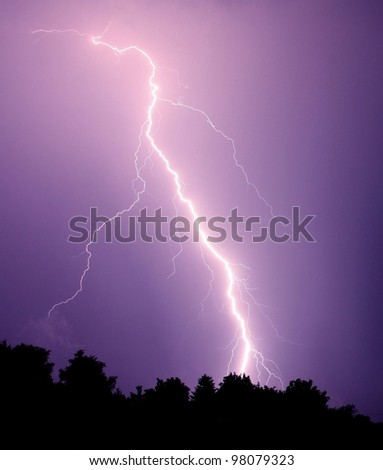 Lightning strike in the darkness - stock photo