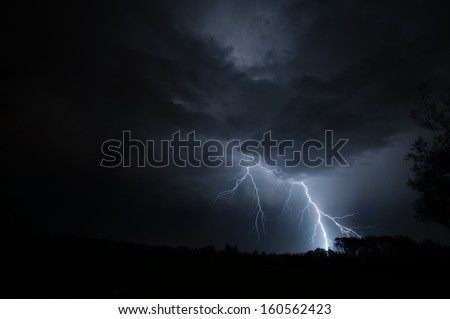 Lightning Strike on the horizon - stock photo