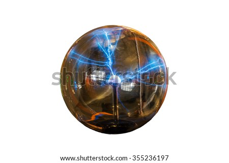 Lightning strike on white isolated background with clipping path. - stock photo