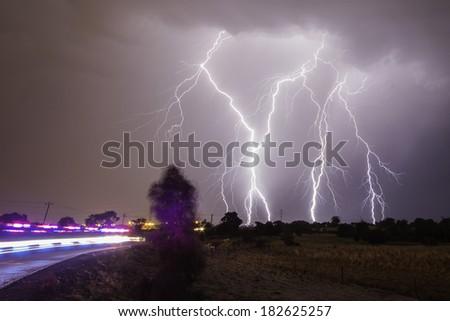 Lightning Strike, Western Australia - stock photo