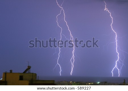 lightnings at Salonica (Greece) - stock photo