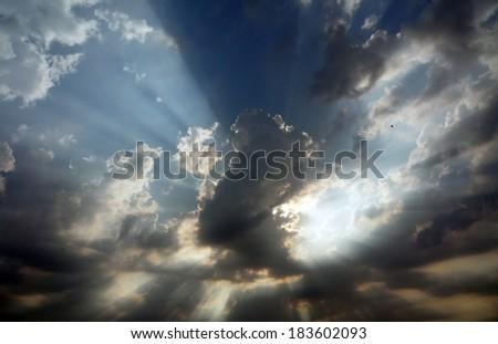Lights above cloud - stock photo