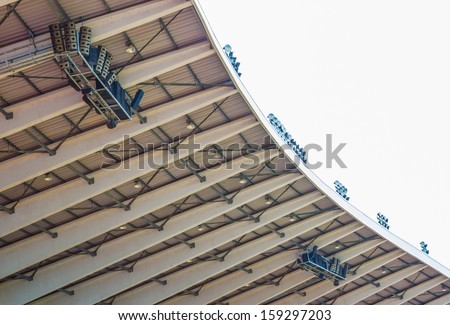 lights and speakers of sport stadium - stock photo