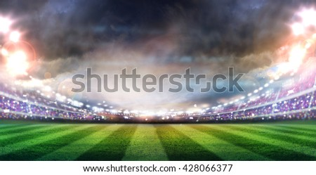 lights at night and stadium.digital effect 3d render, - stock photo