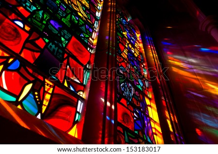 Lights come through the stained glass window - stock photo