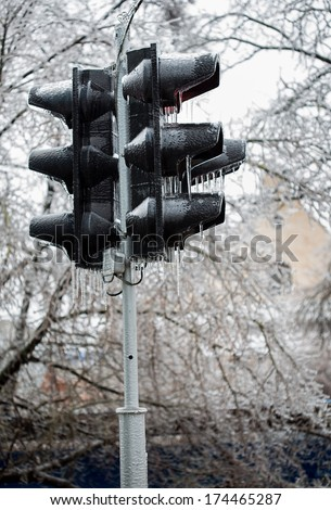 lights frozen into ice, unexpected frosts.  - stock photo