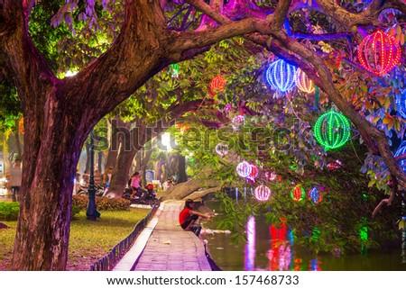 Lights in Hanoi garden - stock photo