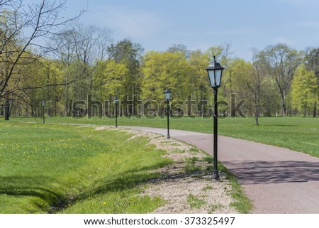 lights in the park - stock photo