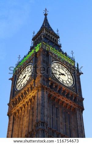 Lights of Big Ben at Dusk - London - UK - stock photo