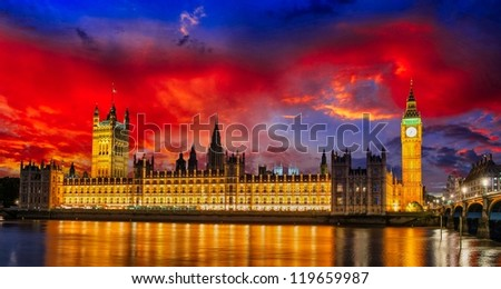 Lights of Big Ben Tower in London - UK - stock photo