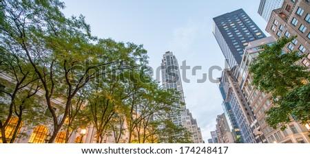 Lights of Fifth Avenue near Public Library, Manhattan. - stock photo