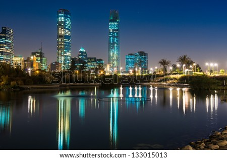 Lights of the Night at Santiago de Chile - stock photo