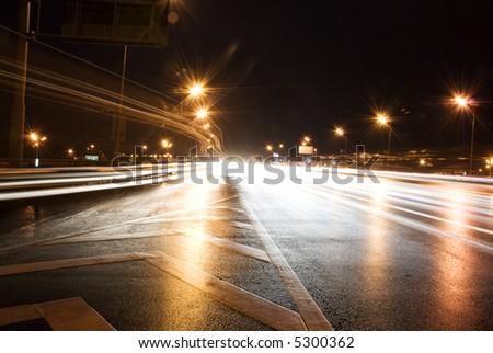 Lights on highway - stock photo
