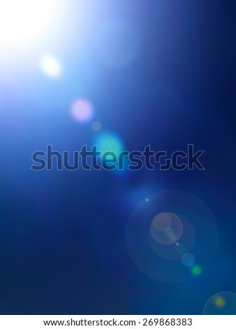 Lights shine On Blue and bokeh fairy Illustration, Graphic Design Useful For Your Design. Bright Blue color Abstract  - stock photo