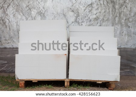 lightweight concrete block the bricks used in the construction of the new series are popular. Reduce heat resistant, lightweight, strong, easy construction. - stock photo