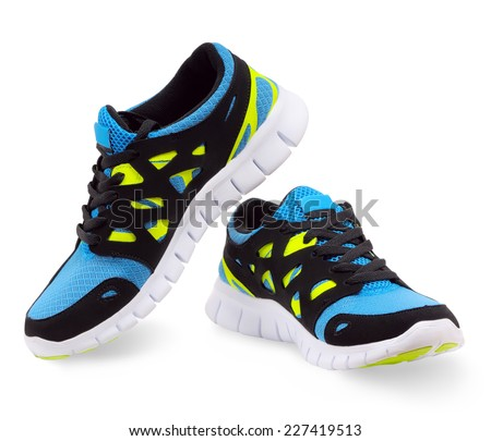 Lightweight running shoes on a white background - stock photo