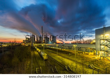 Lignite Power Plant at sunset - stock photo