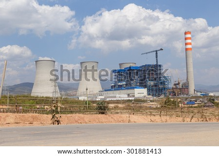 Lignite power plant under construction in Laos - stock photo