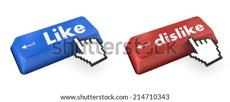 like and dislike key on keyboard  - stock photo