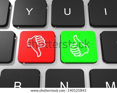 Like and dislike symbol key on keyboard of laptop computer. Social concept. 3D illustration. - stock photo