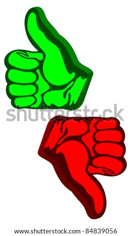 Like and unlike signs on a white background. Like of green color. Unlike of red color. EPS version is available as ID 83245924. - stock photo