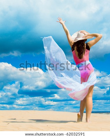 Like goddess of the wind - stock photo
