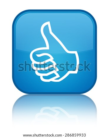 Like icon cyan blue square button - stock photo
