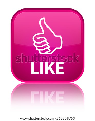 Like pink square button - stock photo