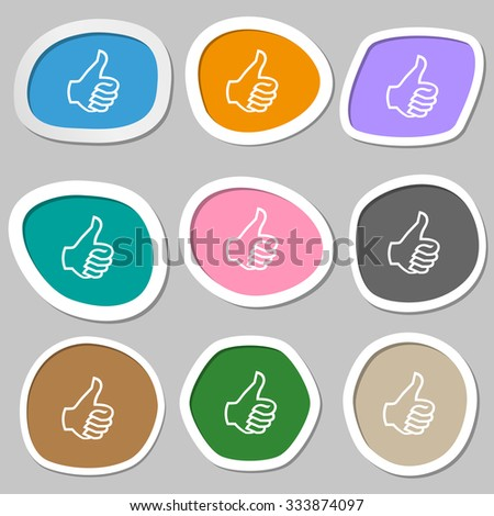 Like sign icon. Thumb up sign. Hand finger up. Multicolored paper stickers. illustration - stock photo