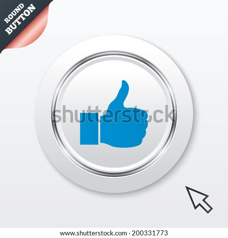 Like sign icon. Thumb up sign. Hand finger up symbol. White button with metallic line. Modern UI website button with mouse cursor pointer. - stock photo