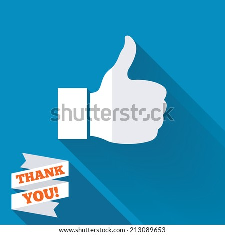 Like sign icon. Thumb up sign. Hand finger up symbol. White flat icon with long shadow. Paper ribbon label with Thank you text. - stock photo