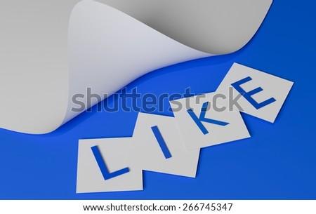 Like text on blue background - stock photo