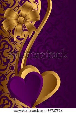 Lilac and gold hearts against a dark background. At the top of a composition a gold bow.EPS version is available as ID 69038206. - stock photo