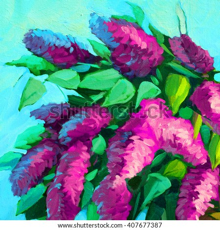 lilac bush blooming, oil painting on canvas, illustration - stock photo