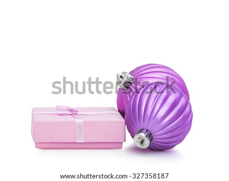 Lilac Christmas and New Year baubles balls, pink gift and ribbon decoration isolated on white background - stock photo