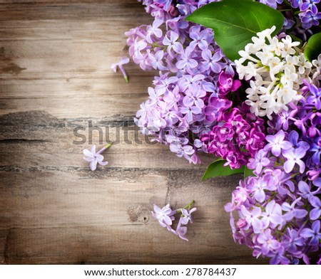 Lilac flowers bunch over wooden background. Beautiful violet Lilac flower border design closeup. Wood. Copy space for your text - stock photo