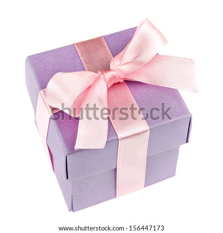 lilac gift box with pink ribbon and bow isolated on white top view - stock photo