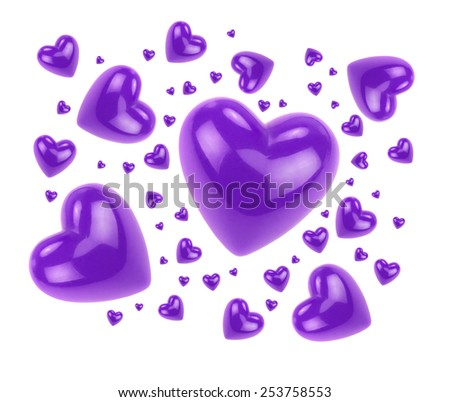 Lilac love hearts isolated on white background. - stock photo