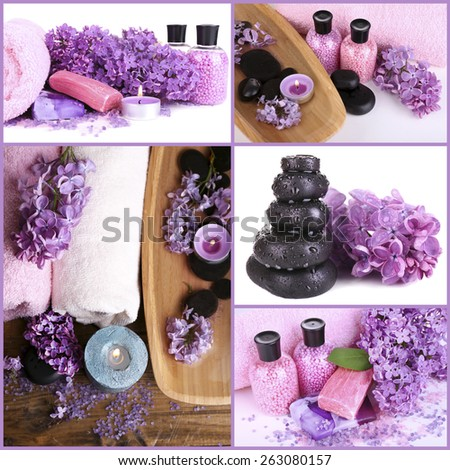 Lilac spa compositions in collage - stock photo