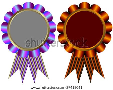 Lilas and brown banners on white background - stock photo