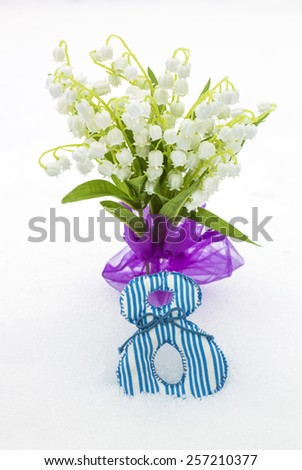 Lilies of valley as gift on March 8, close-up - stock photo