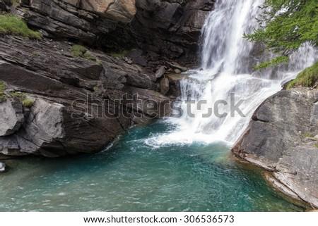 Lillaz waterfalls -Gran Paradiso National Park - stock photo
