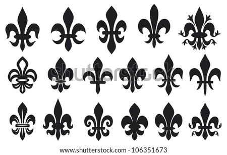 lily flower - heraldic symbol fleur de lis (royal french lily symbols for design and decorate, lily flowers collection, lily flowers set) - stock photo